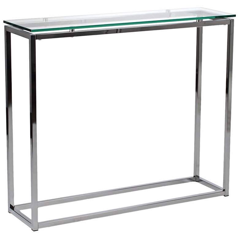 """Sandor 36"""" Wide Clear Glass Modern Console Table"""