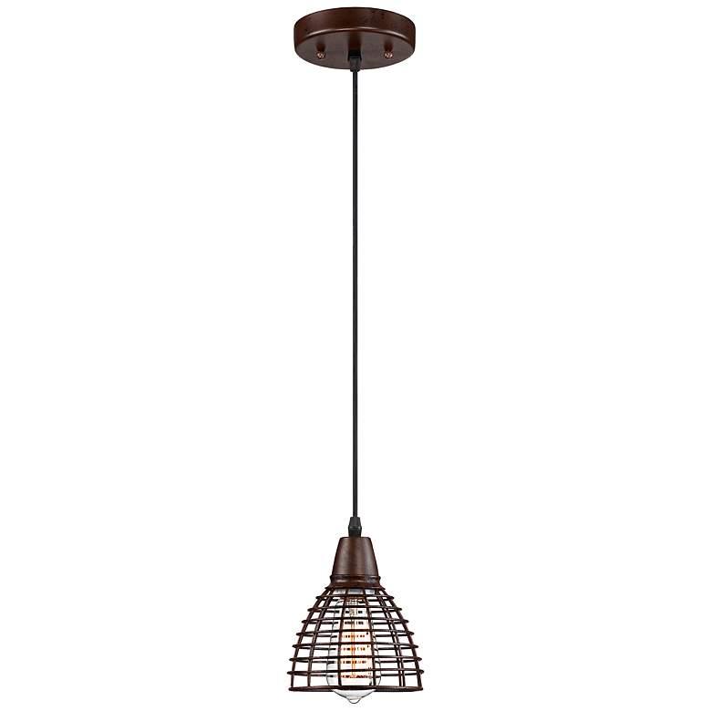 "Metal Grid 5 1/2"" Wide Bronze Mini Pendant Light"