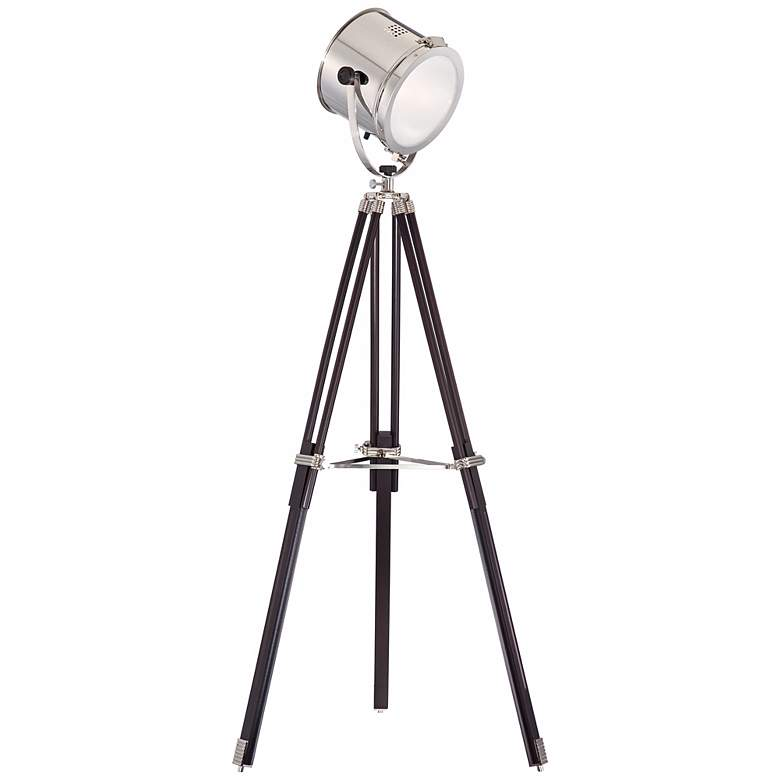 Director's Chrome and Espresso Tripod Floor Lamp