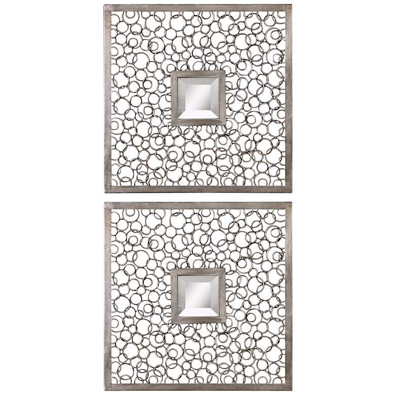 "Colusa Antiqued Silver 20"" Square Wall Mirrors Set"
