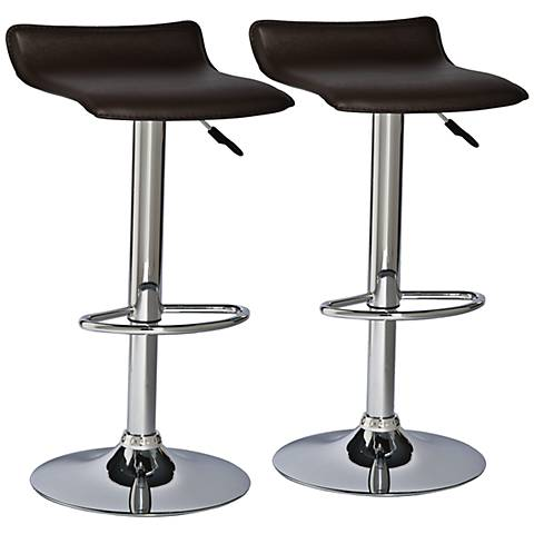 Leick Dark Brown Swivel Adjustable Bar Stools Set Of 2