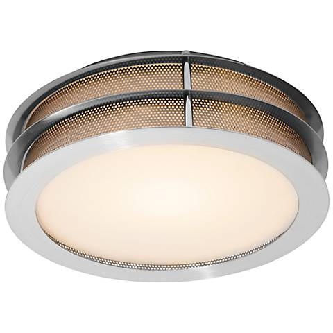 """Iron 12"""" Wide Brushed Steel Ceiling Light"""