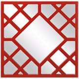 "Howard Elliott Anakin 24"" x 24"" Red Lattice Wall Mirror"