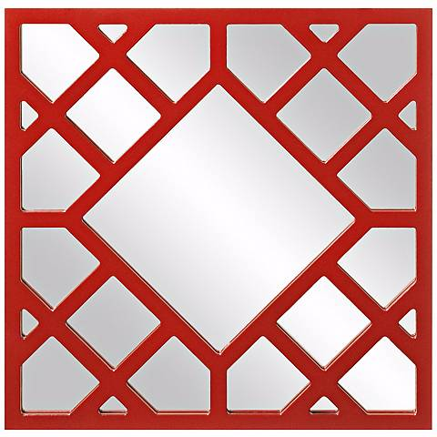"Howard Elliott Anakin 24"" x 24"" Red Lattice Wall Mirror"