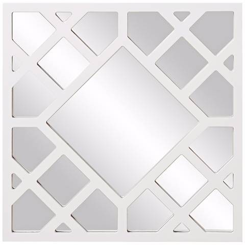 "Howard Elliott Anakin White 24"" Square Lattice Wall Mirror"