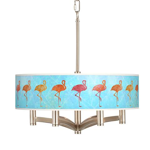 Flamingo Shade Ava 6-Light Nickel Pendant Chandelier