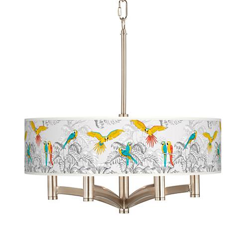 Macaw Jungle Ava 6-Light Nickel Pendant Chandelier