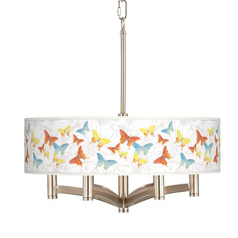 Pastel Butterflies Ava 6-Light Nickel Pendant Chandelier