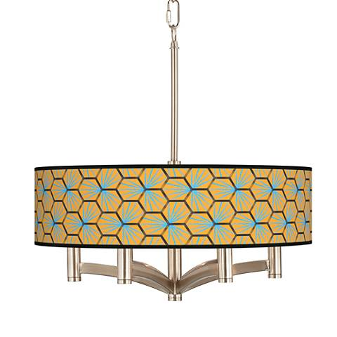 Hexagon Starburst Ava 6-Light Nickel Pendant Chandelier