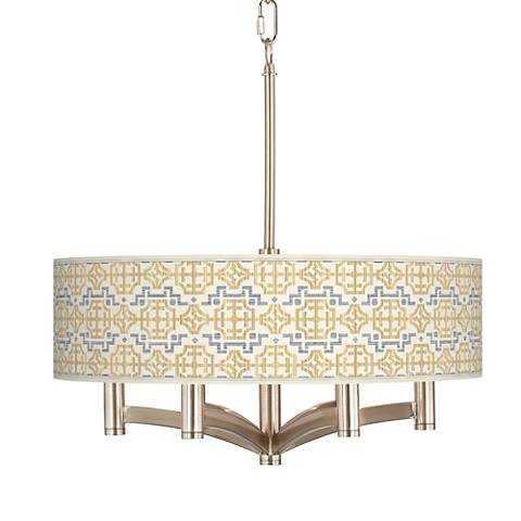 Willow Chinoiserie Ava 6-Light Nickel Pendant Chandelier