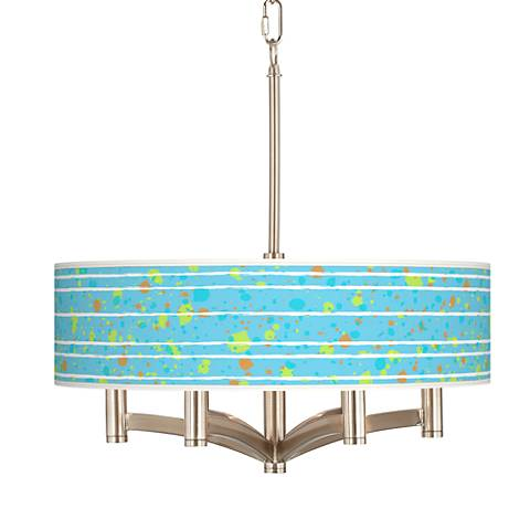 Paint Drips Ava 6-Light Nickel Pendant Chandelier
