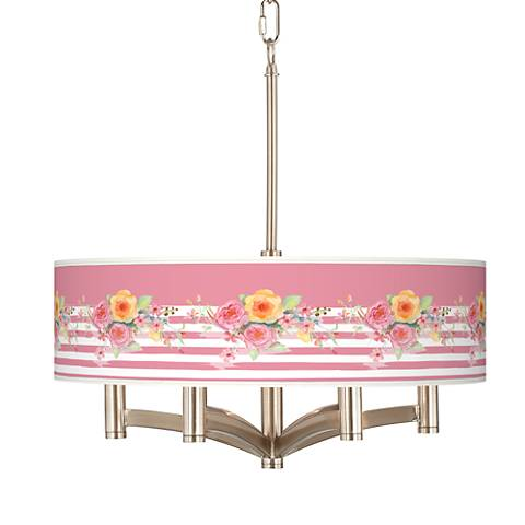 Country Rose Ava 6-Light Nickel Pendant Chandelier