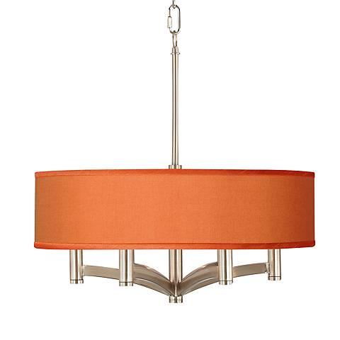 Orange Faux Silk Ava 6-Light Nickel Pendant Chandelier