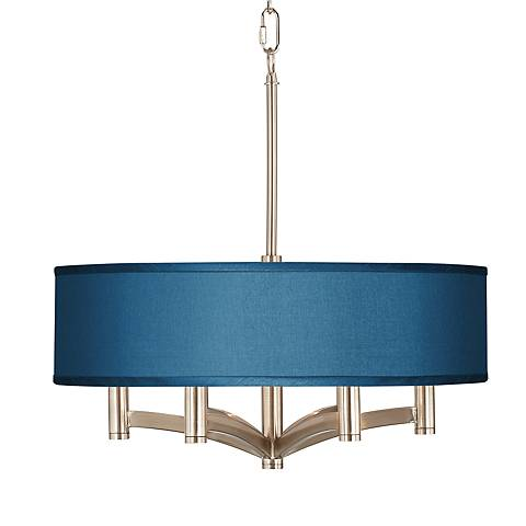 Blue Faux Silk Ava 6-Light Nickel Pendant Chandelier