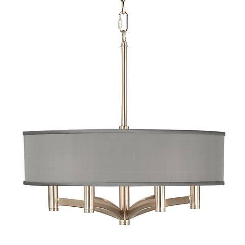 Gray Faux Silk Ava 6-Light Nickel Pendant Chandelier