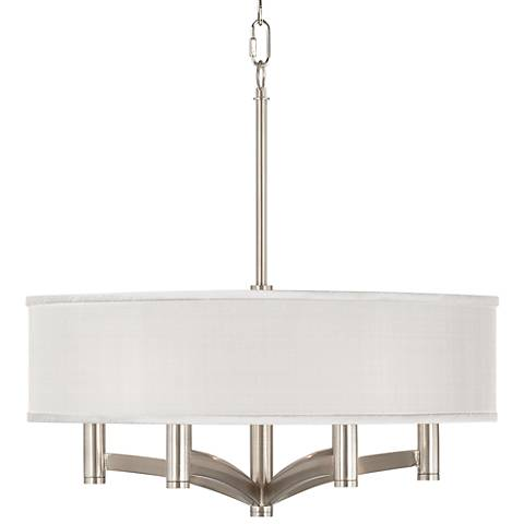 Cream Textured Silk Ava 6-Light Nickel Pendant Chandelier