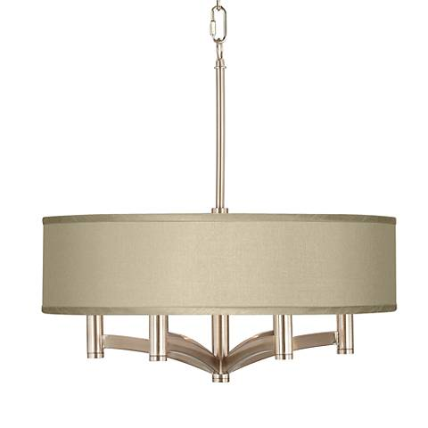 Sesame Faux Silk Ava 6-Light Nickel Pendant Chandelier