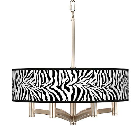 Safari Zebra Ava 6-Light Nickel Pendant Chandelier