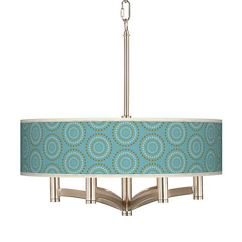 Blue Calliope Linen Ava 6-Light Nickel Pendant Chandelier