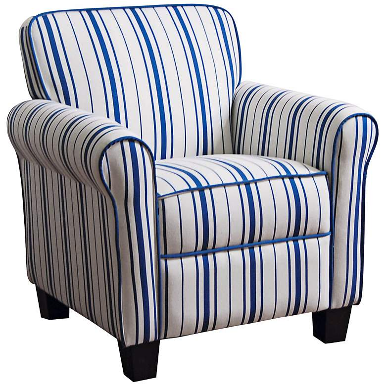 Blue and White Striped Kids Armchair