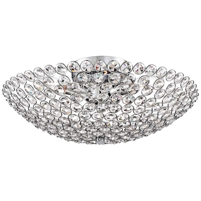 "Possini Euro Design Geneva 16"" Wide Crystal Ceiling Light"