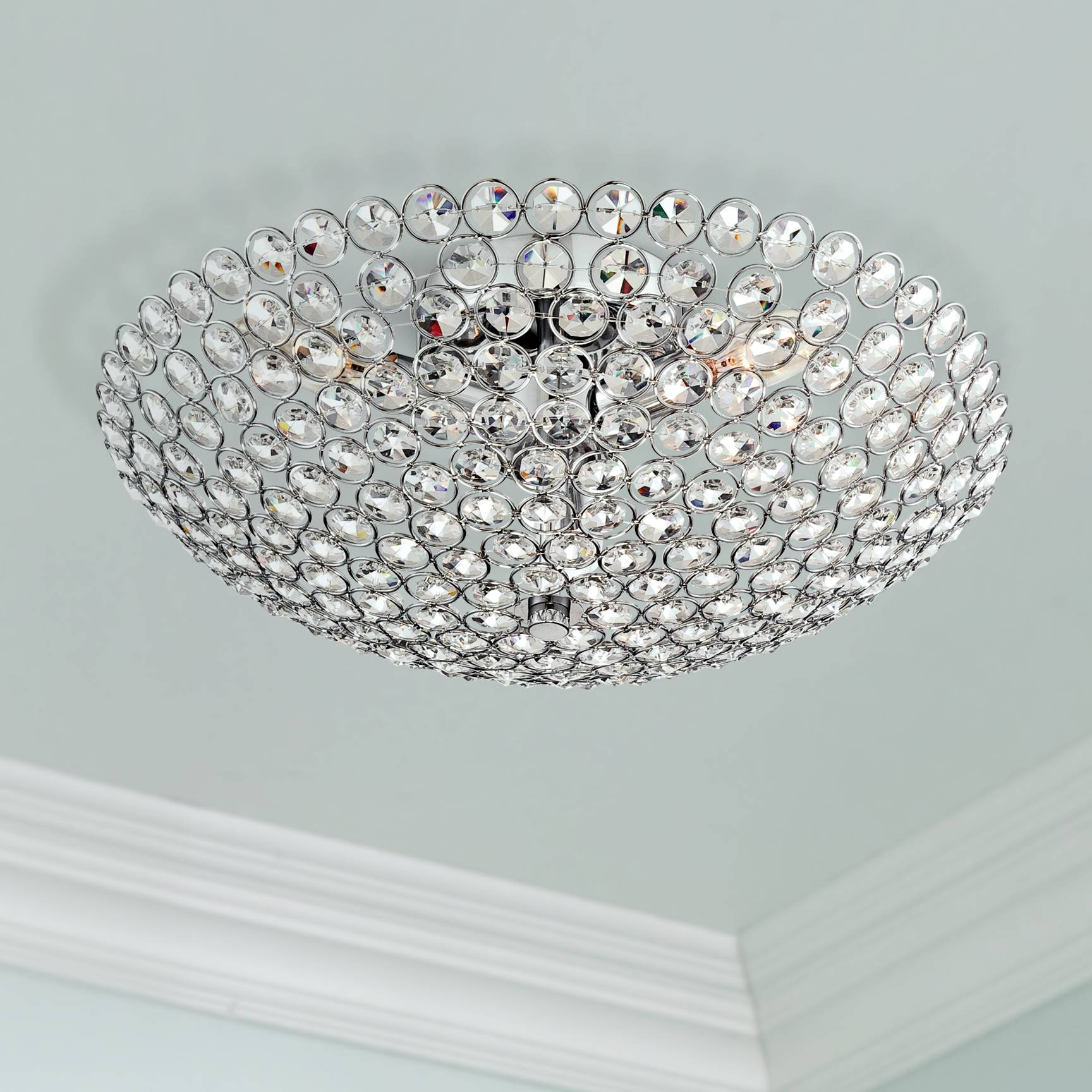Details about ceiling light semi flush mount fixture silver crystals 16 wide bedroom kitchen