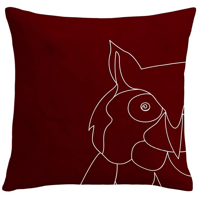 """Uno Wine Red Owl 18"""" Square Down Throw Pillow"""