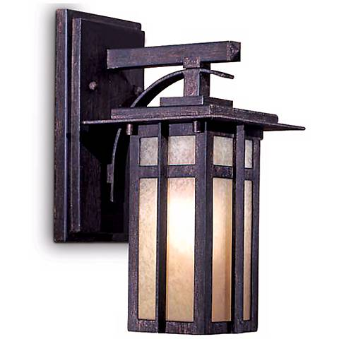 "Delancy 12 1/4"" High Outdoor Wall Lantern in Iron Oxide"