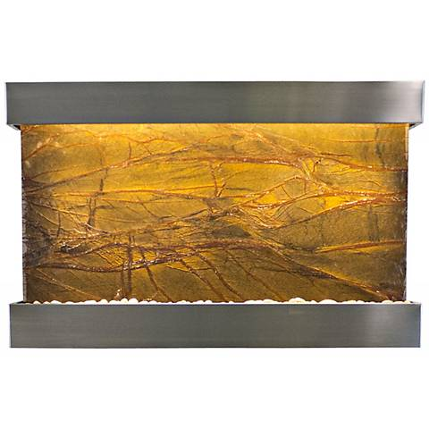 """Quarry Marble and Steel 51"""" Wide Indoor Wall Fountain"""