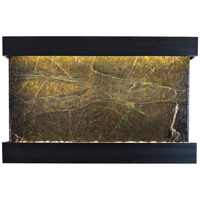"""Quarry Green Marble and Black 51"""" Wide Indoor Wall Fountain"""