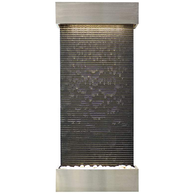 """Classic Quarry 58"""" High Granite and Stainless Wall Fountain"""