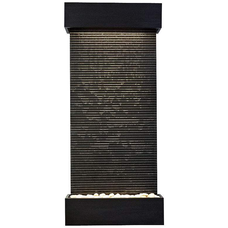 """Classic Quarry 58"""" High Granite and Black Onyx Wall Fountain"""