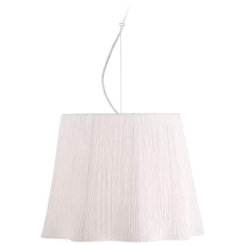 "Possini Euro Adi Chrome 16"" Wide Ivory White Pendant Light"