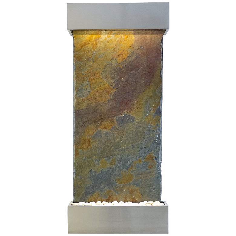 """Classic Quarry 58"""" Raja Slate Stainless Steel Wall Fountain"""