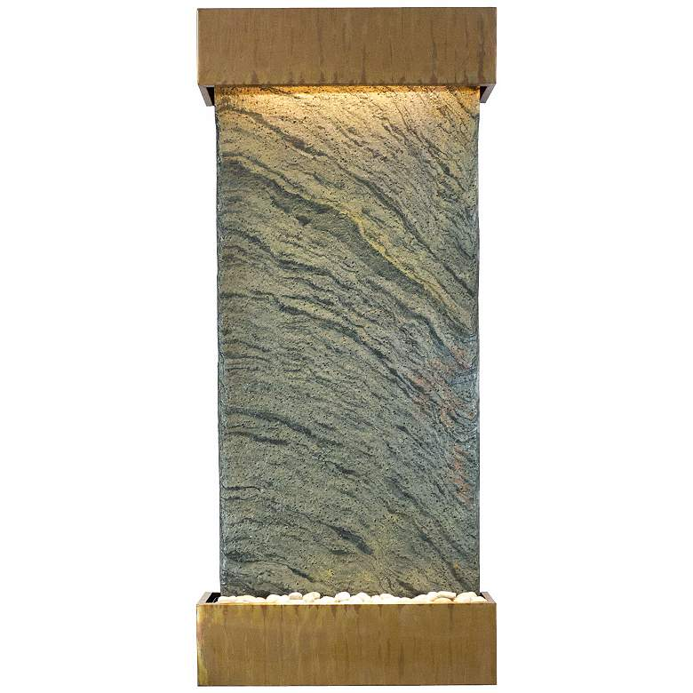 "Classic Quarry 58"" Jera Slate Copper Patina Wall Fountain"