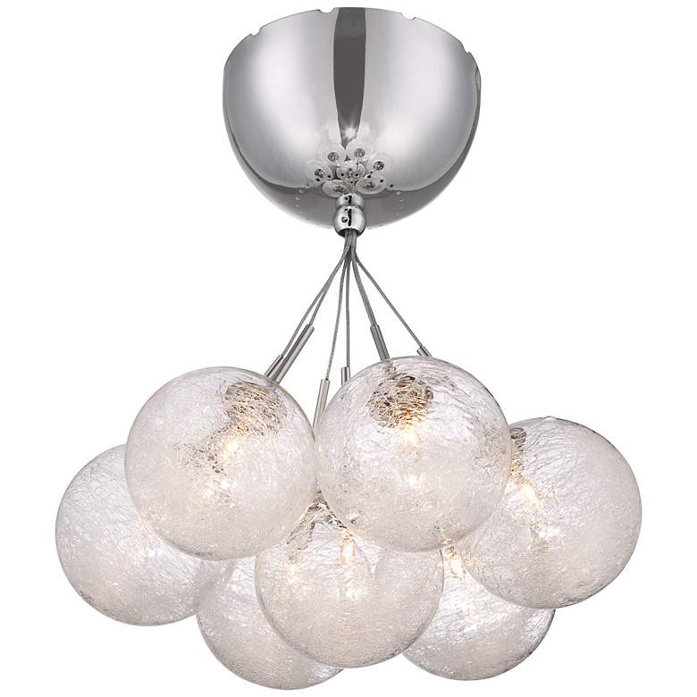 "Possini Euro Claud Glass 11"" Wide Chrome Ceiling Light"