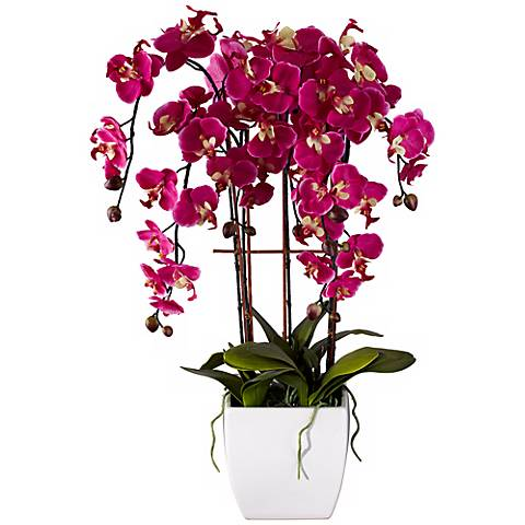 "Potted White Ceramic 29"" High Faux Fuchsia Orchid"