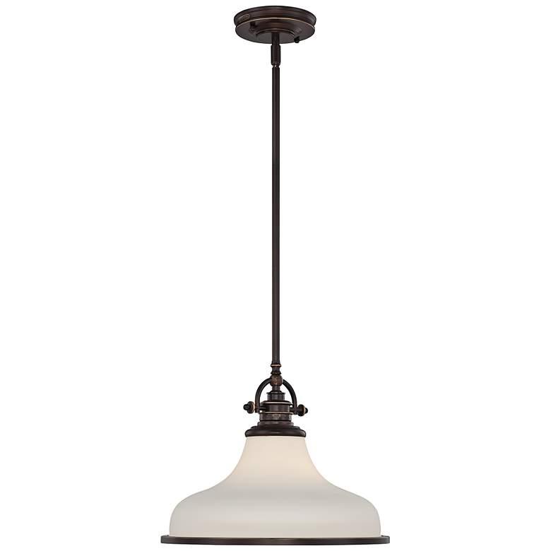 "Quoizel Grant 13 1/2"" Wide Bronze Pendant Light"