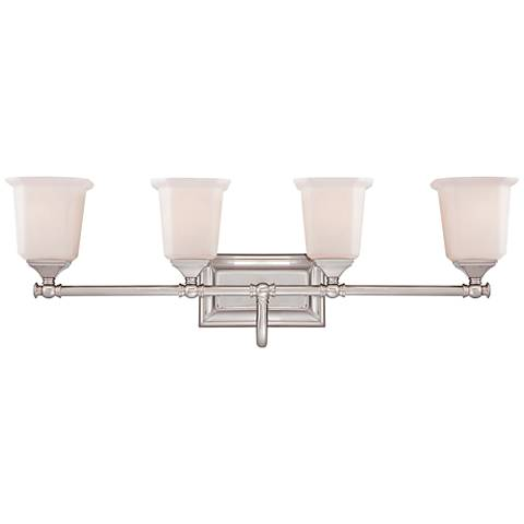 "Quoizel Nicholas 30 1/2"" Wide Brushed Nickel Bath Light"