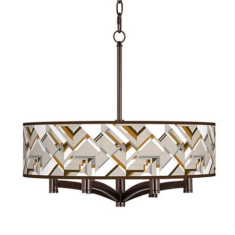 Craftsman Mosaic Ava 6-Light Bronze Pendant Chandelier