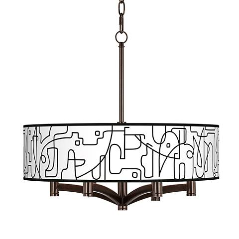 Scribble World Ava 6-Light Bronze Pendant Chandelier