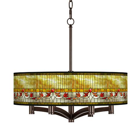 Tiffany-Style Lily Ava 6-Light Bronze Pendant Chandelier