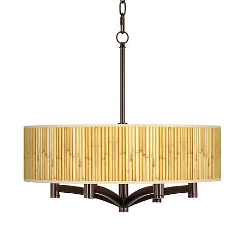 Bamboo Mat Ava 6-Light Bronze Pendant Chandelier