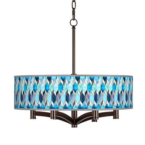 Blue Tiffany-Style Ava 6-Light Bronze Pendant Chandelier