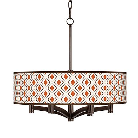 Retro Lattice Ava 6-Light Bronze Pendant Chandelier