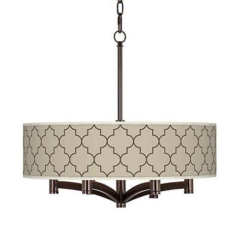 Tangier Taupe Ava 6-Light Bronze Pendant Chandelier