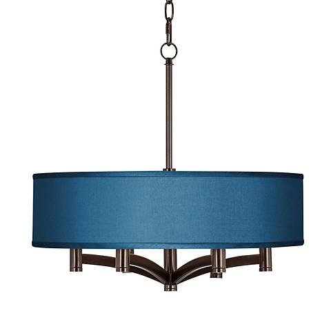 Blue Faux Silk Ava 6-Light Bronze Pendant Chandelier