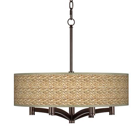 Seagrass ava 6 light bronze pendant chandelier x9844 y7184 seagrass ava 6 light bronze pendant chandelier aloadofball Images