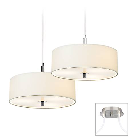 Possini Euro Contemporary White Drum Double 2-Light Pendant