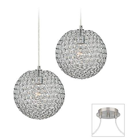 Crystal Beaded - Brushed Nickel Double Multi Light Pendant
